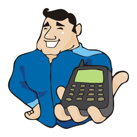 interrogate: messenger with smart phone network technology cartoon vector