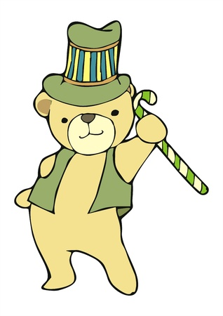 artiste bear with stave in Circus and topper hat cartoon Stock Vector - 21928204