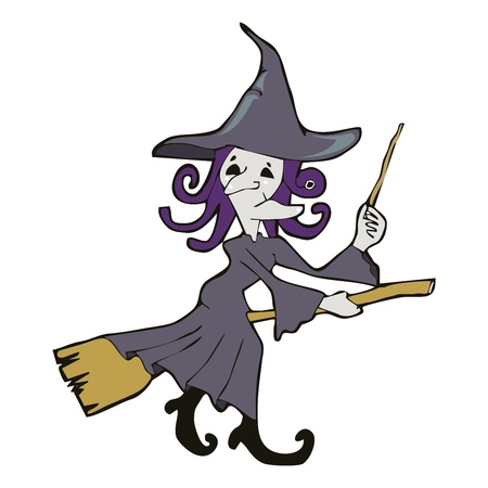 disastrous: witch riding with broom cartoon vectoor