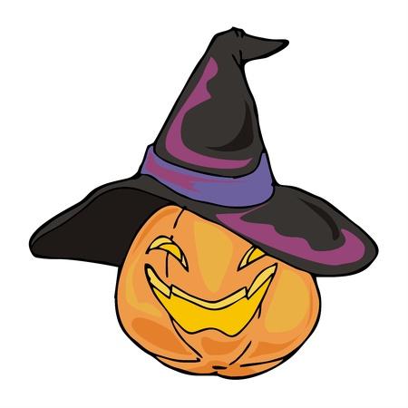 jinn: Linterna de calabaza con sombrero de bruja de Halloween Vectores