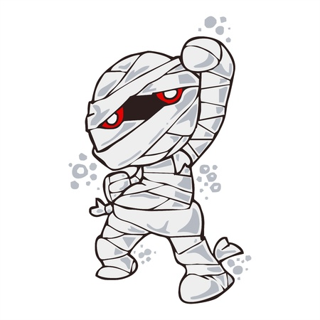 Mummy happy Halloween cartoon