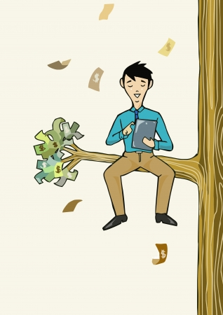 beatific: Success Businessman working with tablet sit under the money tree