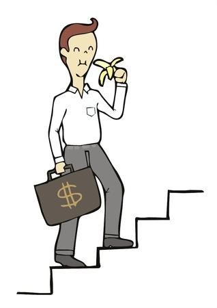 precautionary: businessman walk up the stairs and eat banana easy