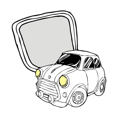 impetuosity: retro Mini car with lable cartoon vector