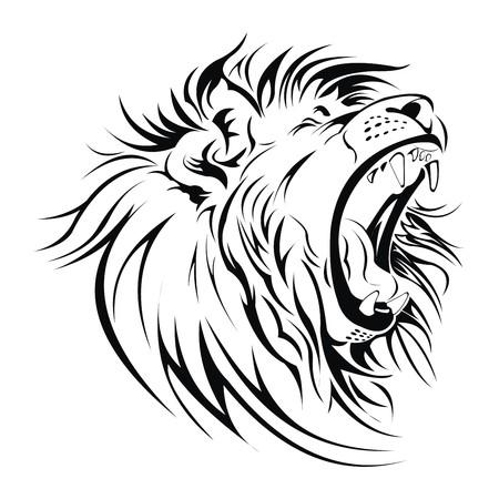 Lion roar head vector Illustration