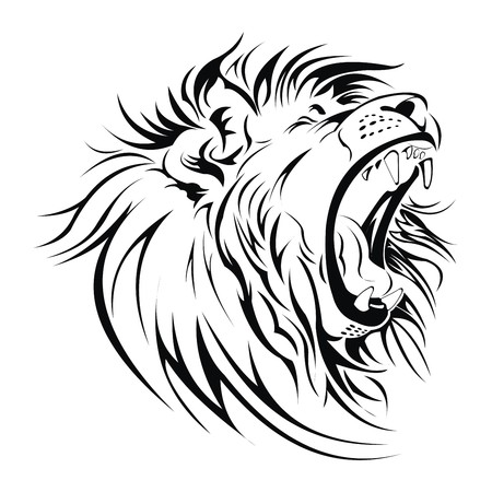 ferocious: Lion roar head vector Illustration