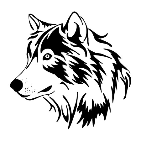 wolf head side vector