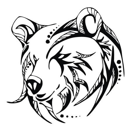 grizzly: Niedźwiedź Wektor tatuaż głowa