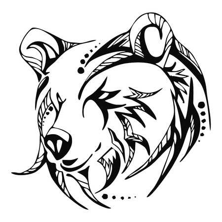 grizzly: Vecteur de tatouage de t�te d'ours Illustration