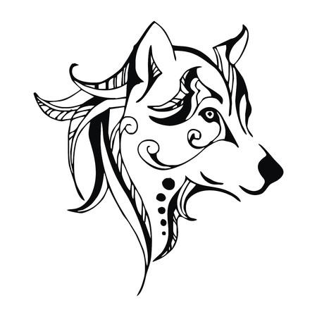 늑대: 늑대 머리 문신 벡터