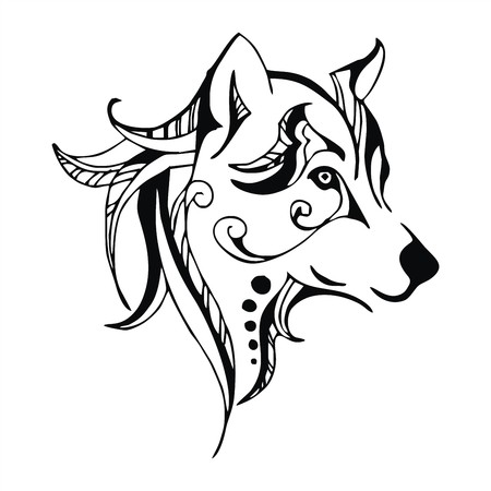 wolf head tattoo vector Çizim