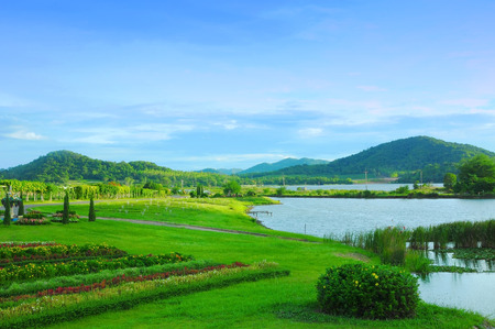 innate: mountain and lagoon park  landscape Stock Photo