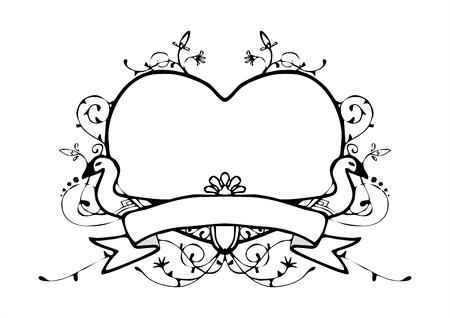 coeur avec le vecteur vintage style de cadre de cygne