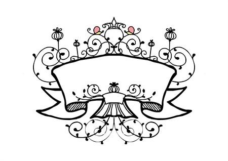 ruban avec le vecteur vintage style de cadre de fleur de vigne
