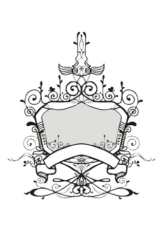 Vecteur de style cadre vintage bouclier ornementation