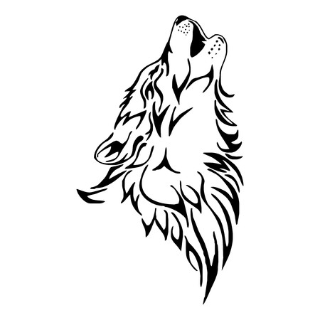 wolves: wolf howl head tattoo vector