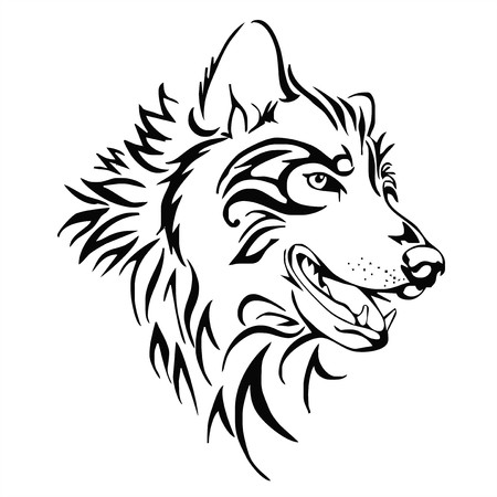 wolf head tattoo vector Иллюстрация