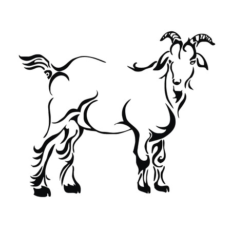 goat tattoo sketch  Vector