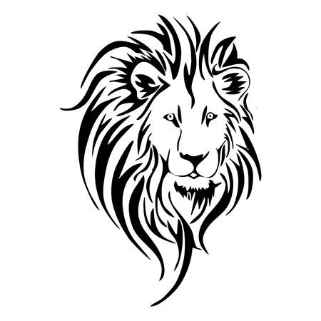 Leeuwenkop tattoo Stock Illustratie