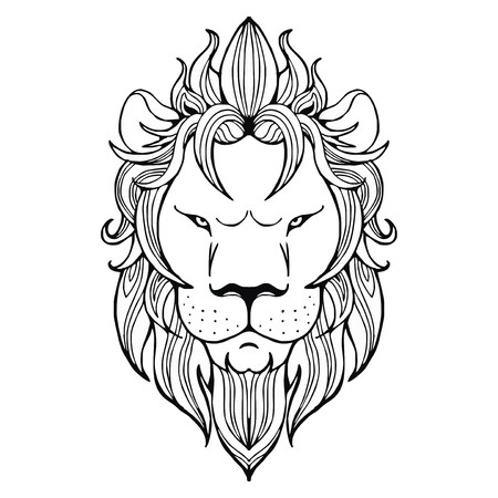 portly: Lion face tattoo vector