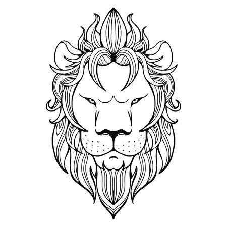 sedate: Lion face tattoo vector