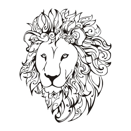 Lion head  tattoo vector Vector