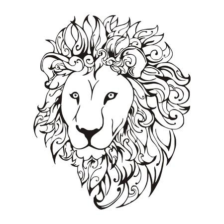 portly: Lion head  tattoo vector