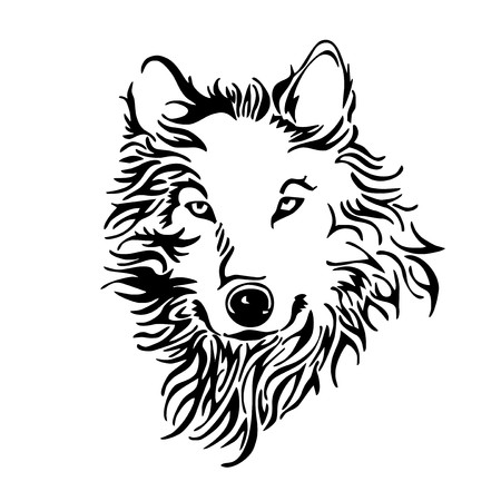 ferocious: wolf head tattoo vector Illustration