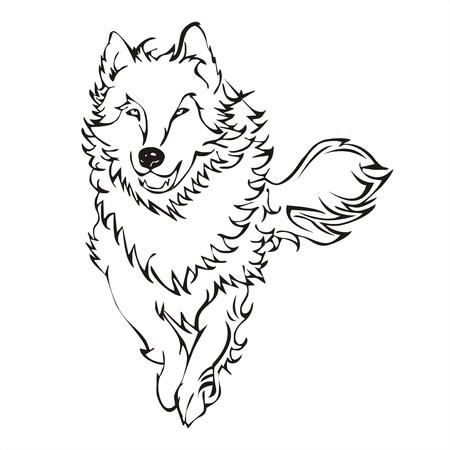 wolf run tattoo vector