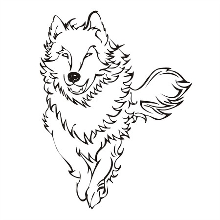 wolf run tattoo vector Vector