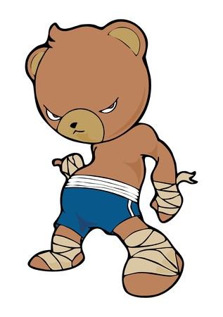 kleine bruine beer Thai boksen stripfiguur Stock Illustratie
