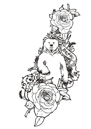 rose tattoo: Bear with rose sketch vintage tattoo vector