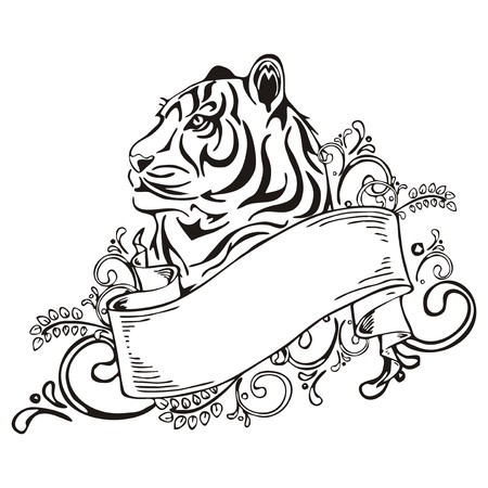 beauty face: Tiger with ribbon vintage sketch tattoo vector
