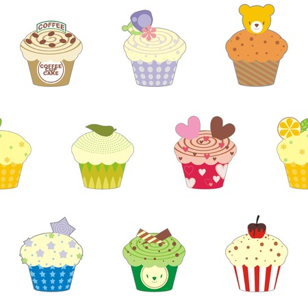 tableau curtains: Fancy cup cake pattern wallpaper Illustration