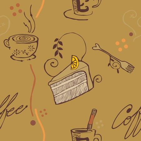 brown tone coffee and cake pattern wallpaper Vector