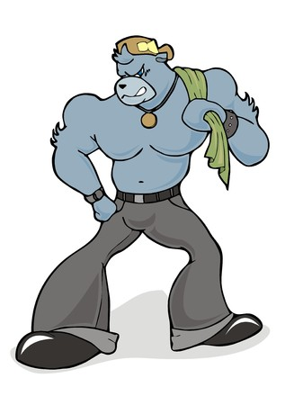 angry bear: g�ngster enojado personaje de dibujos animados oso