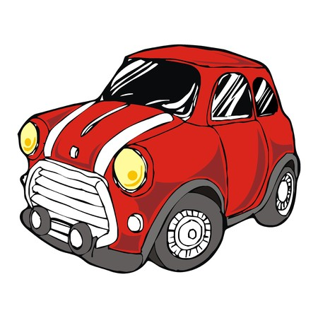 mini retro red car cartoon vector