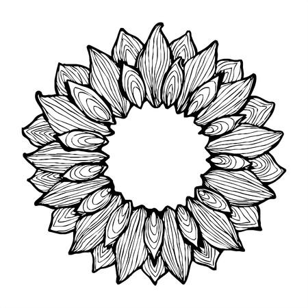 Sunflower ink sketch frame  Vector