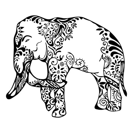 elephant with butterfly ornament tattoo Illustration