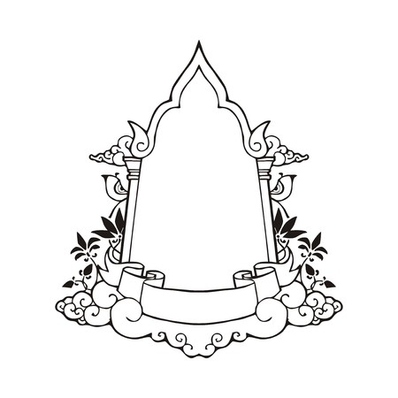 Arch door frame and ribbon floating on cloud in Thai style  Illustration