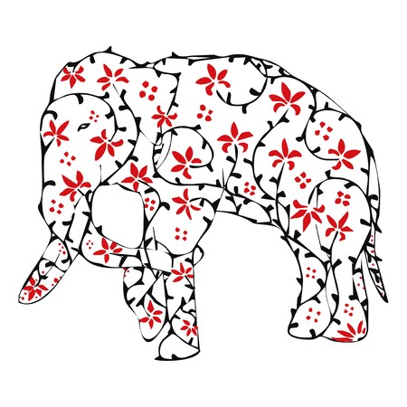 Elephant with ivy and red flower vintage ornament  Vector