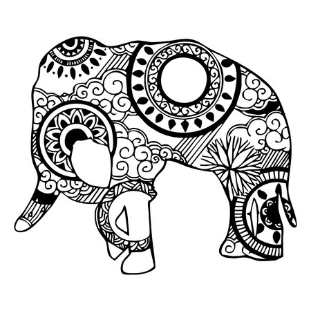 Elephant with cloud and rain ornament tattoo  Vector