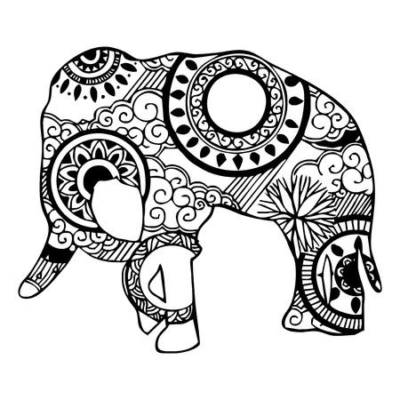 totem indien: Éléphant avec nuages ??et la pluie ornement tatouage Illustration