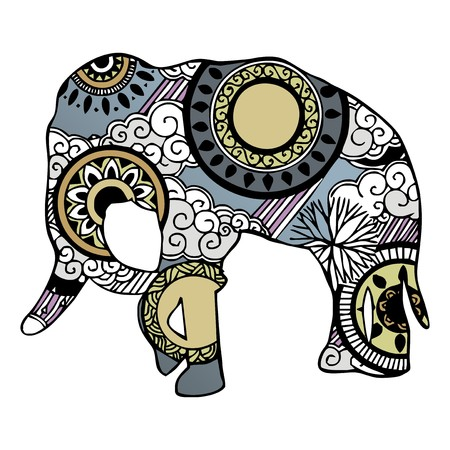 Elephant with cloud and rain ornament painting  Vector