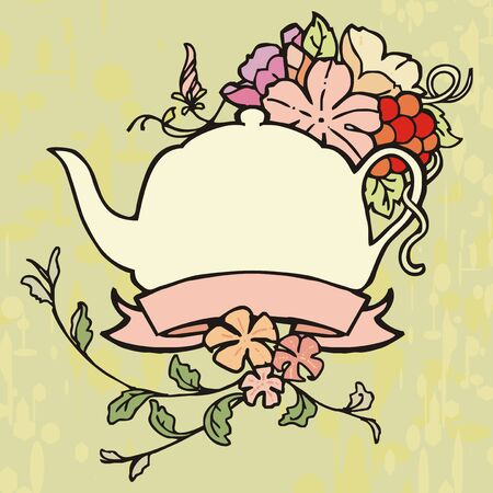 pot flower ribbon vintage painting label with rough background Vector