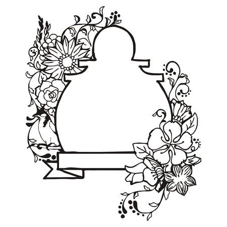 debonair: Floral frame with bird and ribbon vintage label drawing