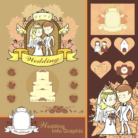 Wedding planer info graphic frame and icon vector