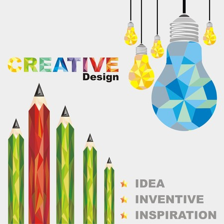 lamp and pencil creative Abstract, geometric backgrounds Vector