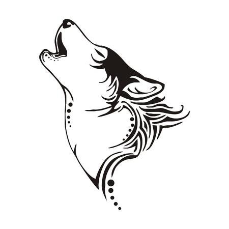 늑대: 지도자 늑대 베이 부족 문신 벡터