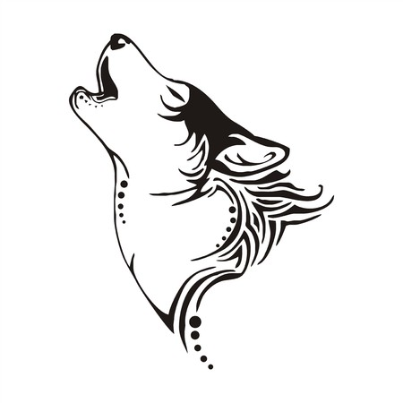 white wolf: leader wolf bay tribal tattoo vector